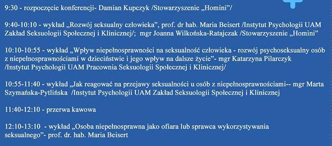 """""""Seksualność osób z niepełnosprawnością intelektualną"""" – konferencja."""